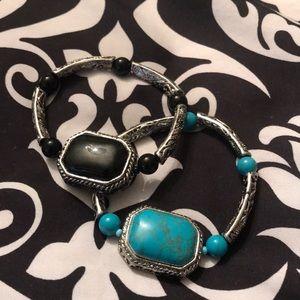 Black and turquoise bracelets
